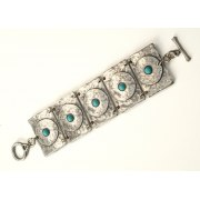 Hammered Silver Plate Bracelet with Swarovski crystals - Anava Jewelry