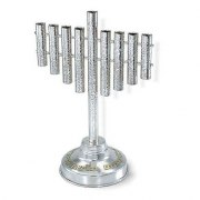 Hammered Tubes Sterling Silver Hanukkah Menorah with Hanerot HaLalu