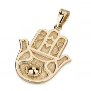 14K Gold Hamsa Doves, Star of David Necklace