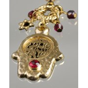 Gold Plated Hamsa Shema Israel Pendant Necklace - Anava Jewelry