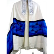 Hand Painted Blue Star of David Tallit Prayer Shawl by Galilee Silks