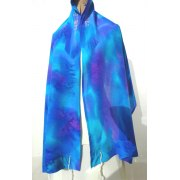 Hand Painted Blue Violet Tallit Prayer Shawl by Galilee Silks