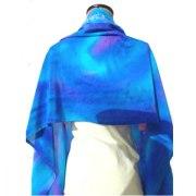 Hand Painted Blue Violet Tallit Prayer Shawl by Galilee Silks