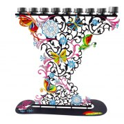 Hand Painted Flowers & Butterflies, Metal Hanukkah Menorah