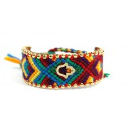 Weaved Colorful Bracelet Decorated with Beads and Hamsa Charm