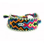 Weaved Colorful Bracelet with Silver Beads and Evil Eye Charm
