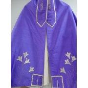Handpaited Dupion Silk Tallit Purple with white Lili Flowers