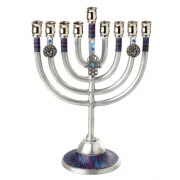Hanukkah Menorah with Blue and Purple Design and Hamsa Charm