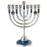 Hanukkah Menorah with Blue Design and Dreidel Charm