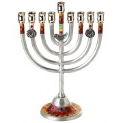 Hanukkah Menorah with Red and Yellow Flowers and Bird Charm