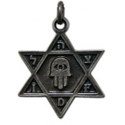 IDF and Hamsa, Star of David Necklace