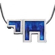 Idit - Enamel Filled Sterling Silver Chai Pendant - Block Letters
