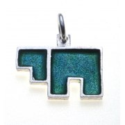 Idit - Enamel Filled Sterling Silver Chai Pendant - Thick Block Letters