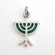 Idit - Enamel Filled Sterling Silver Menorah Pendant