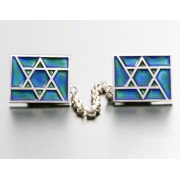 Idit - Enamel Mosaic on Sterling Silver Star of David Talit Clip