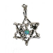 Idit - Oxidized Sterling Silver Star of David Pendant With Opal - branches