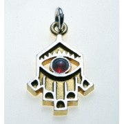 Idit - Sterling Silver Hamsa filled with 24k Gold plated + Gemstone accent