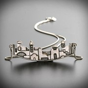 Idit - Sterling Silver Jerusalem Pendant with silver box chain