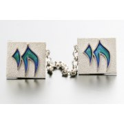 Idit - Sterling Silver Silver with Raised Enamel Chai Tallit clip