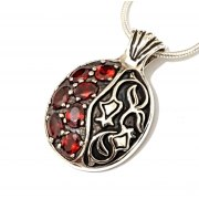 Sterling Silver and Red Garnet Stones Pomegranate Necklace