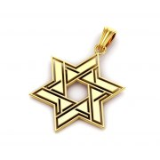 14K Gold Star of David Necklace Modern Interlock Design