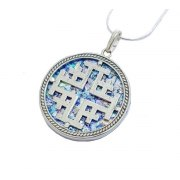 Round Roman Glass Necklace with Silver Jerusalem Cross