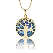 14K Gold Tree of Life Necklace with Faceted Roman Glass