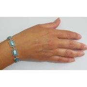 Roman Glass Bracelet with Sterling Silver Filigree Frame
