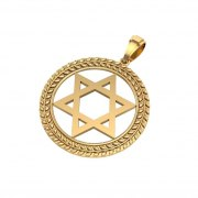 14K Gold Star of David Necklace with Circular Olive Leaf Frame