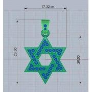 14K Gold & Diamond Interlock Design Star of David Necklace