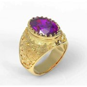 14K Gold Jerusalem Ring with Amethyst Gemstone