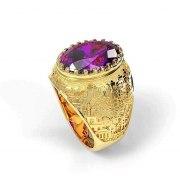 14K Gold Jerusalem Ring with Amethyst Gemstone