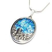 Silver and Roman Glass Jerusalem Necklace