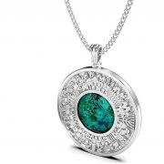 Yoel Jewelry Silver Jerusalem Circle Eilat Stone Pendant