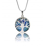 Tree of Life Necklace Sterling Silver and Faceted Roman Glass