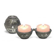 Jerusalem and Choshen Silver Plated Travel Candlesticks