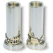 Jerusalem of Gold Panorama Cylinder Shabbat Candlesticks