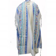 Jerusalem Wool Blue and Silver Stripes, Tallit