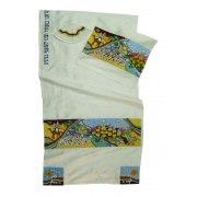 Josephs Dream Appliqué  White Silk Rikmat Elimelech Tallit