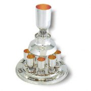 Kiddush Cup Fountain with 6 smooth Sterling Silver Cups on Ornate Stems