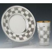 Kiddush Cup & Saucer Chatan Set  Checkerboard Design - Hadad Sterling Silver