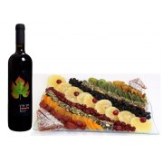 Large Assorted Dried fruit Platter & wine, Gift Basket