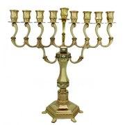 Large Gold plated Diamond Design Hanukkah Menorah