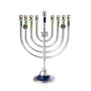 Large Hanukkah Menorah with Blue and Green and Star of David
