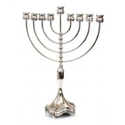 Large Branch, Silver Plated Hanukkah Menorah