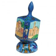 Large Wooden hand-painted dreidel and stand, Yair Emanuel, various designs