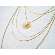 Layered Filigree Necklace in Gold - Shlomit Ofir Jewelry