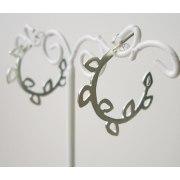 Leaf Hoop Earrings in Silver - Shlomit Ofir Jewelry