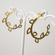 Leaf Hoop Earrings in Silver or Gold Plate - Shlomit Ofir Jewelry