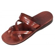 Leather Slip-on Biblical Sandals With Instep Strap - Sharon